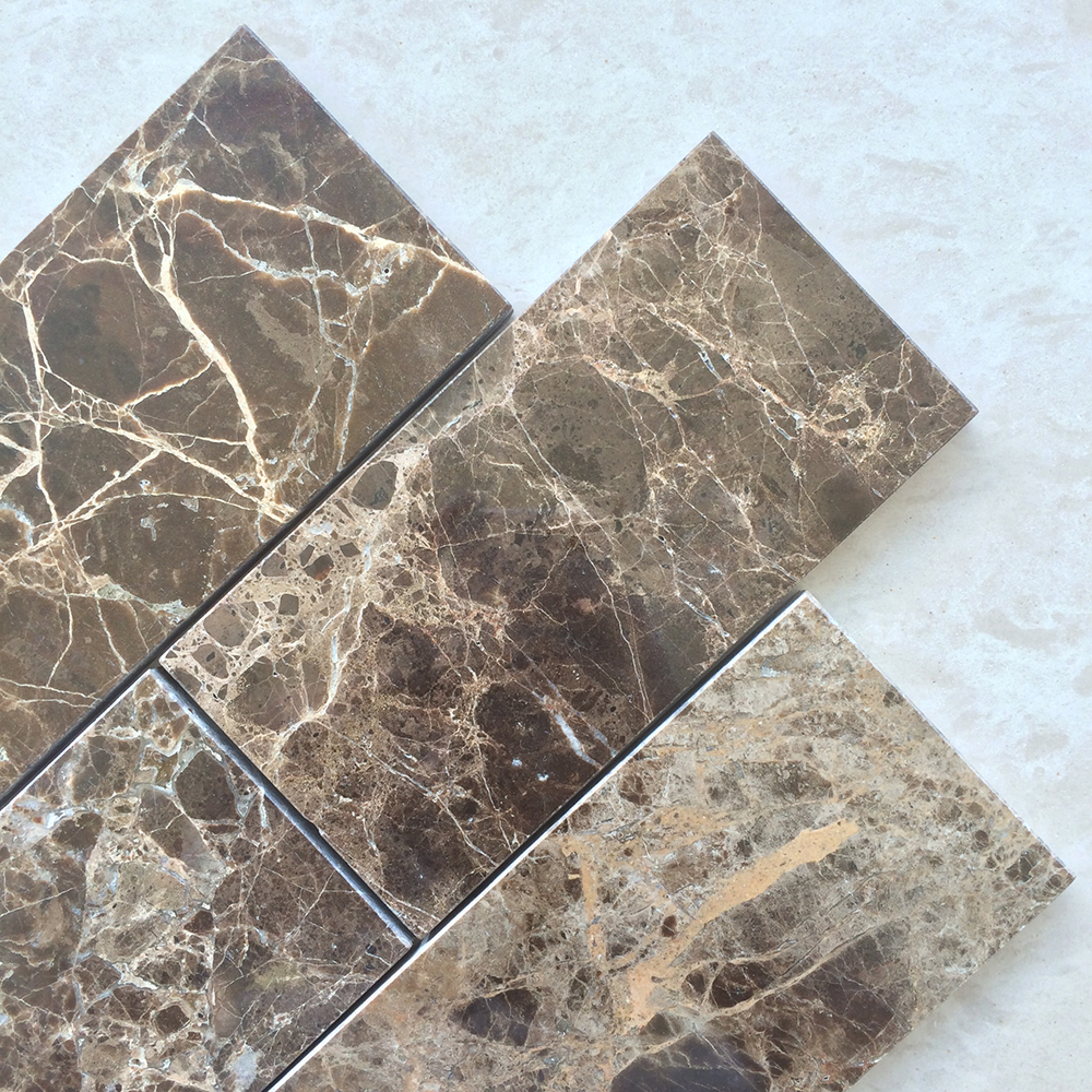 Dark Emperador 3x6 Polished Marble Tile