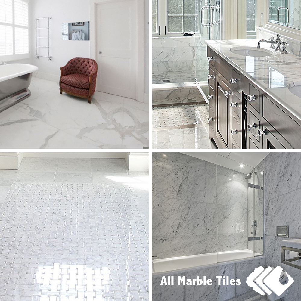 Bianco Carrara Marble Tile, Mosaic, Marble Border and Moulding for your Bathroom Design, Kitchen Design and more