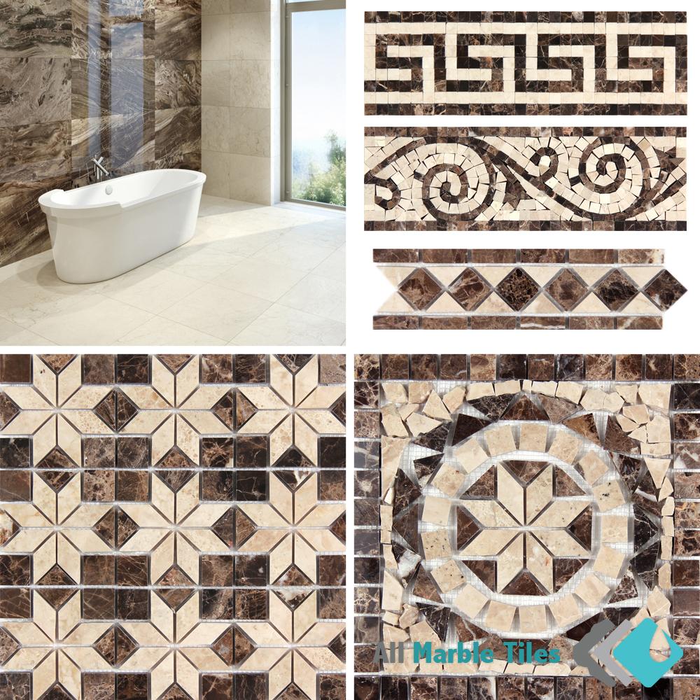 Dark Emperador Marble Tiles and Mosaics