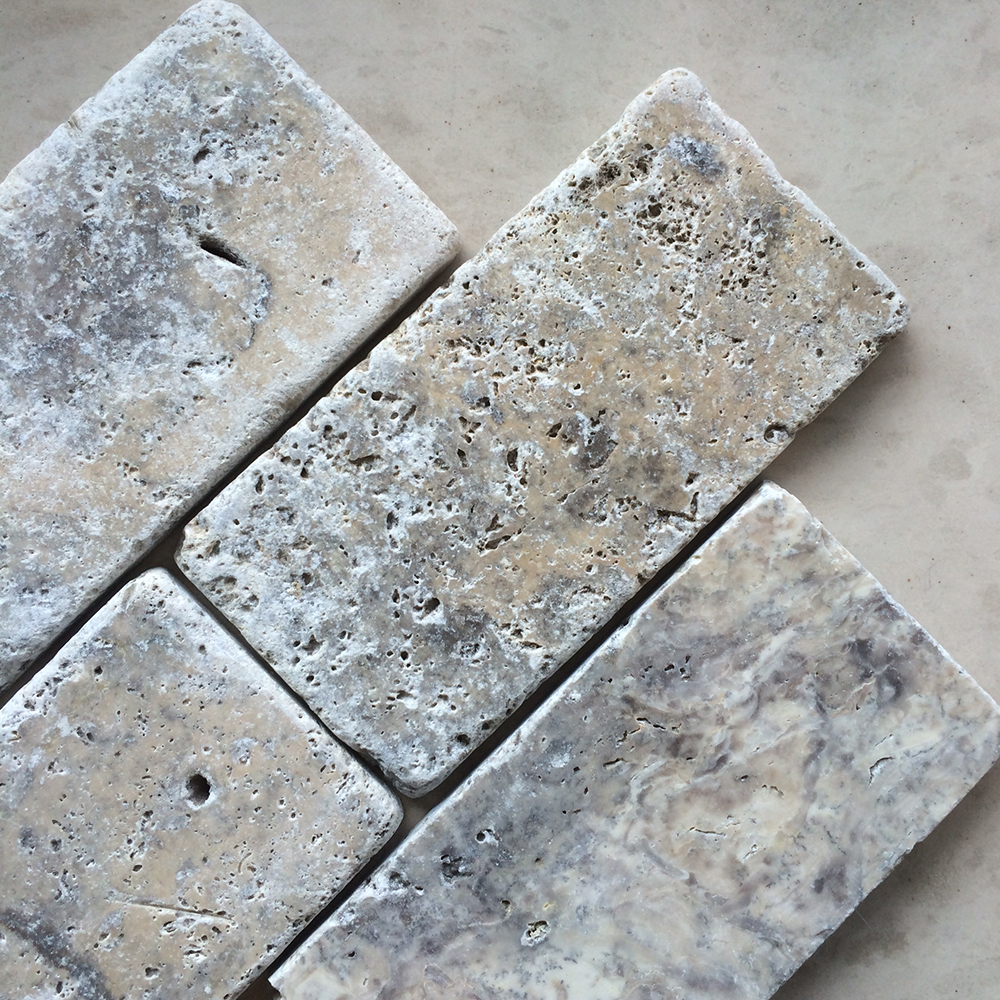 Tumbled Silver Travertine 3x6 Subway Tile