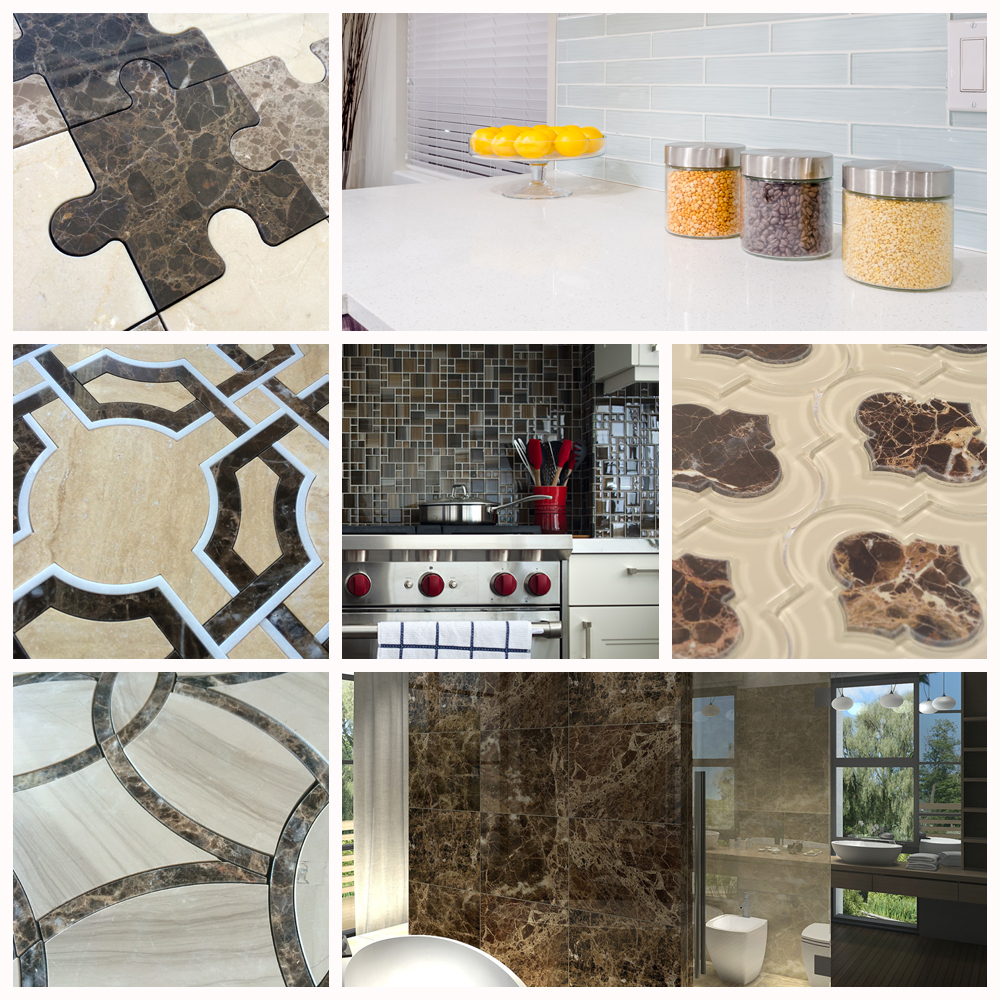 Dark Emperador Marble Tiles and Glass Tiles For Your Bathroom Tile Design