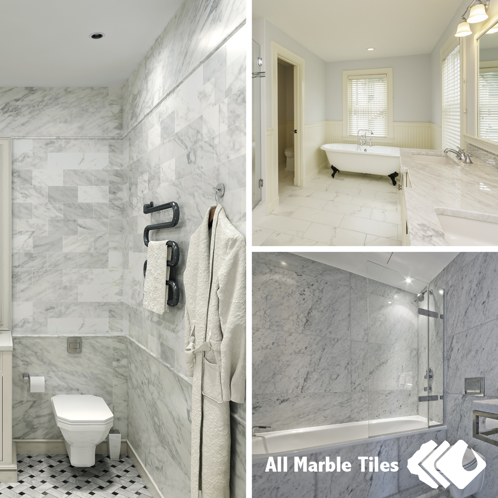 Bathroom Tile Ideas White Carrara Marble Tiles and Calacatta Gold Marble Tiles